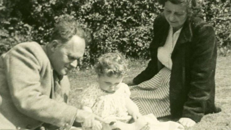 Lionel Penrose with Margaret Leathes Penrose plus a child in the Harris Family, 1954 or 1955