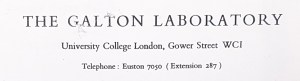 Masthead on Lionel Penrose's stationery for Galton Laboratory, University College London. This letter in dated 1958.