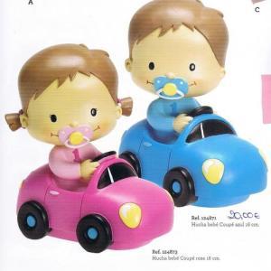 Bebé no carro 16cm Azul e rosa