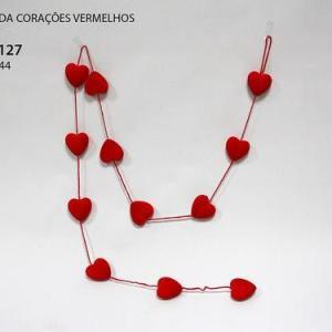 Grinalda de corações 6cm. Tipo veludo com brilho Aprox. 2mt
