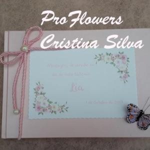 Livro de Honra de Batismo personalizado tema flores