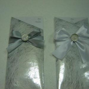 Convite prata c/fita cetim e brilhante 1