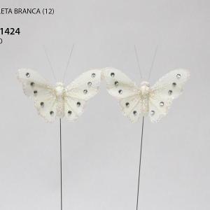 Borboletas brancas 10cm 12 unidades