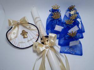 Vela + concha de Batismo em azulão