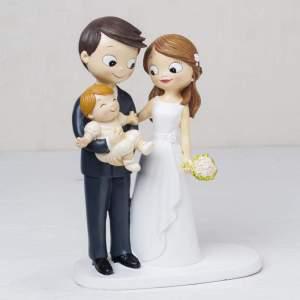Topo bolo noivos com bebé 21cm