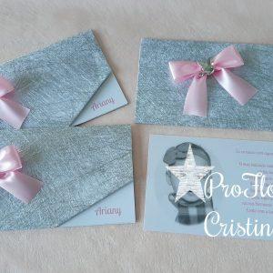 Convite com foto em prata e rosa