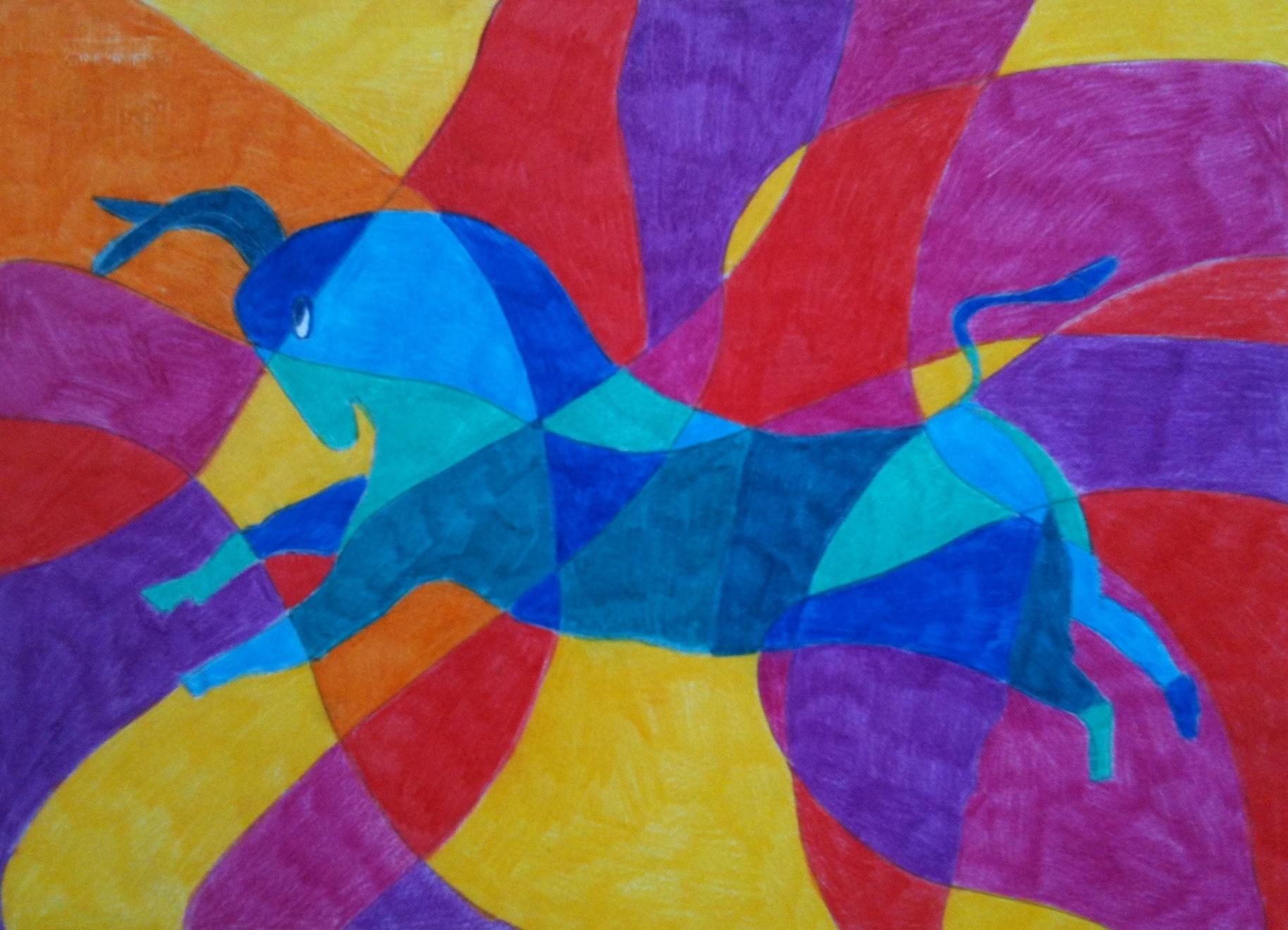 Disegno colori caldifreddi SALTO DEL TORO  Prof Monica