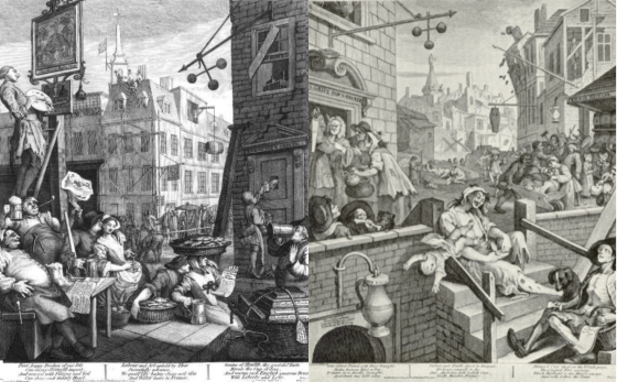 "William Hogarth, ""Beer street and Gin lane"", 1751"