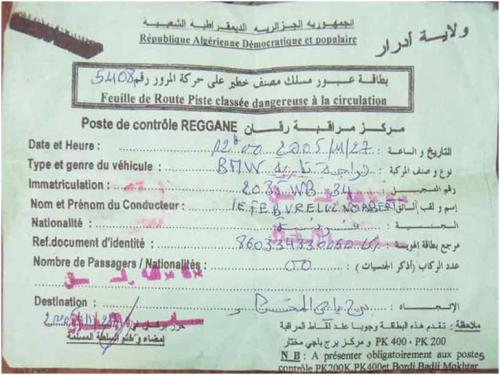 Exemple de feuille de route délivrée aux reporters circulant en Algérie