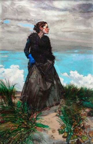 LAURENCE WITH BLUE GLOVE, 2012, Acrylique et Encre sur Perspex, 235x155 cm