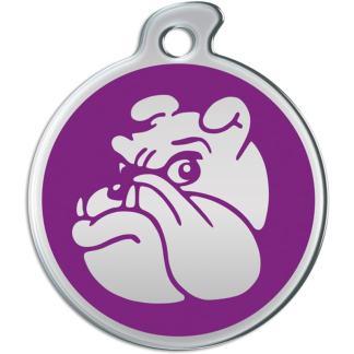 Billede af rundt hundetegn med sølvfarvet bulldog på lilla baggrund.
