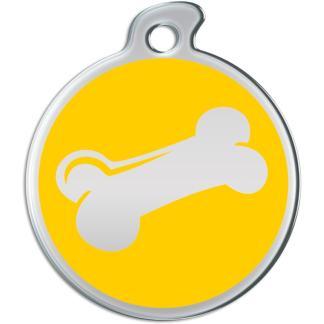 Billede af rundt hundetegn med sølvfarvet kødben på gul baggrund.