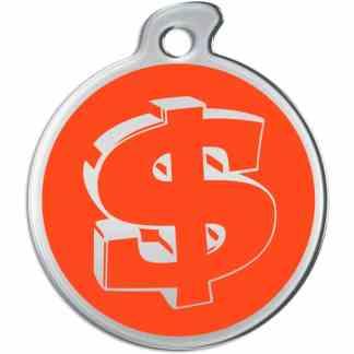 Bild einer runden Hundemarke mit silberfarbenen Dollarzeichen auf orange Hintergrund.