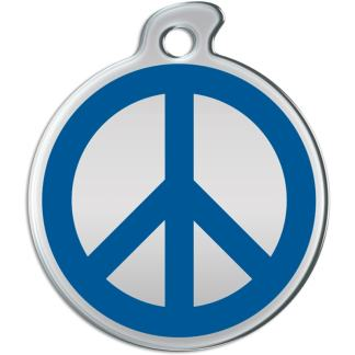 Picture of round dog tag with blue peace sign on matallic background