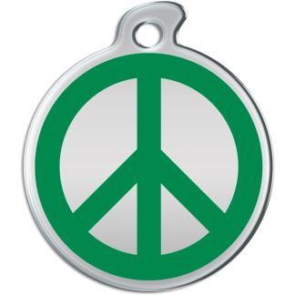 Billede af rundt hundetegn med grønt fredstegn på sølvfarvet baggrund