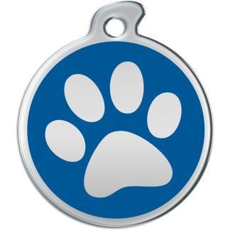 Ein rundes Hundezeichen mit Stahl färbte Abdruck der Tatze auf blauem Hintergrund.