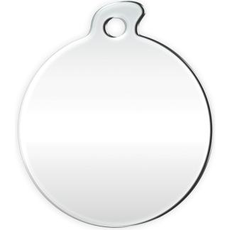 Image of round dog tag without motif made of stainless steel.
