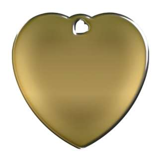 Picture of heart-shaped, brass-colored dog tag without motif.