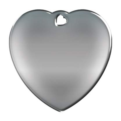 Billede af hjerteformet, stålfarvet hundetegn uden motiv.
