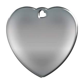 Picture of heart-shaped, steel-colored dog tag without motif.