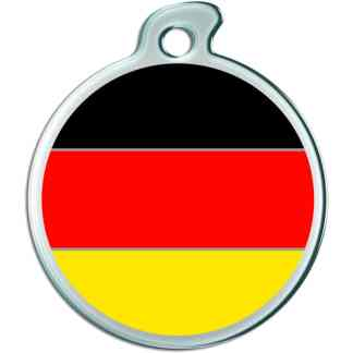 Billede af rundt hundetegn med tysk flag.