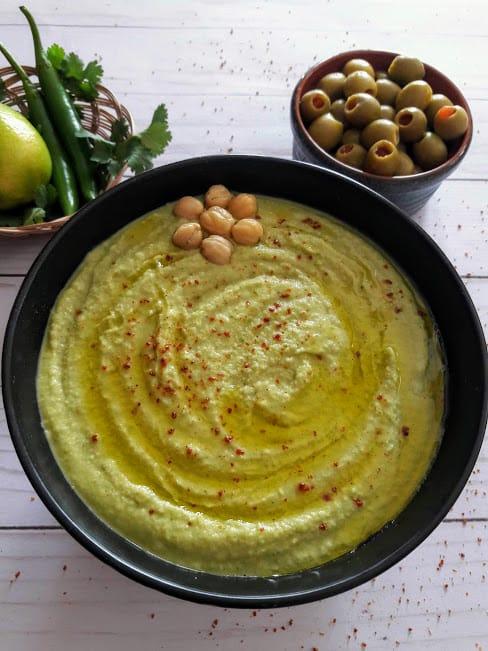 Creamy Homemade Cilantro Jalapeno Hummus Recipe