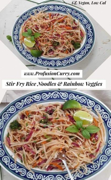Stir Fry Rice Noodles &Rainbow Veggies
