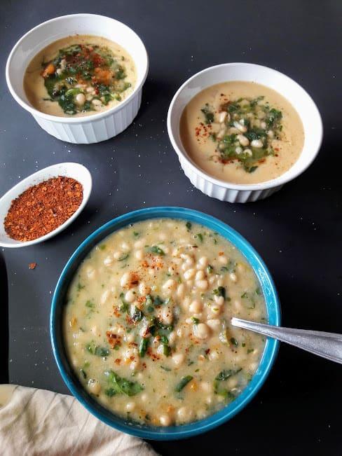 Creamy White Bean Spinach Soup-InstantPot-Vegan