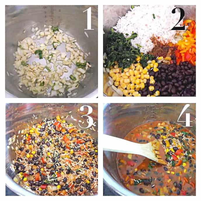 InstantPot Vegan Enchilada Rice Bowl Process Shot collage