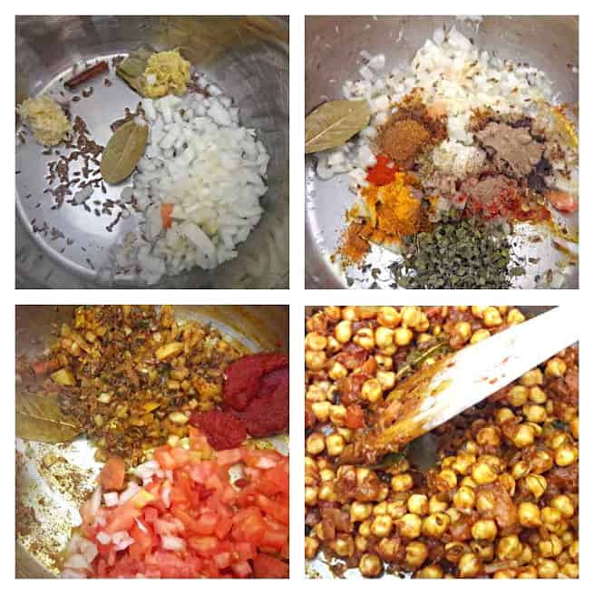 Process shot collage for how to make Chole in InstantPot