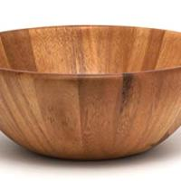 """Lipper International 1154 Acacia Round Flair Serving Bowl for Fruits or Salads, Large, 12"""" Diameter x 4.5"""" Height, Single Bowl"""