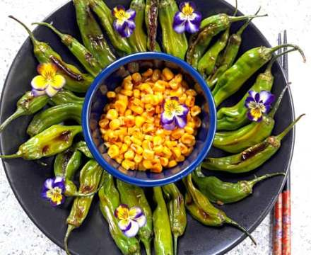 Grilled Corn and Shishito Peppers Recipe