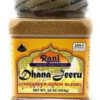 Rani Dhana-Jeeru (Coriander-Cumin Blend 50-50) Powder 16oz (1lb) 454g ~ Natural Salt Free | Vegan | Gluten Free Ingredients | NON-GMO