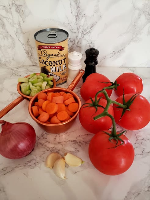 display of ingredient needed to make Vegan Tomato Bisque