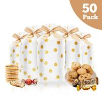 50 Pcs Candy Cookies Plastic Drawstring Gift Bags Gold Dot Treat Bags for Birthday Party Snack Wrapping Wedding Gift Party Favor