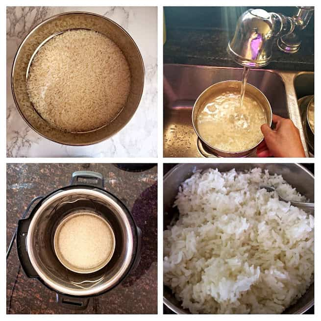 Process steps collage showing how to make Jasmine Rice in Instantpot.