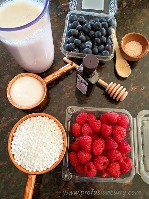 Display of ingredients to make homemade vegan Tapioca Pudding.