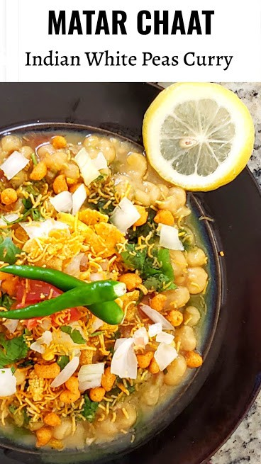 Tangy and spicy Matar Chaat is popular north Indian street snack food! Whole yellow peas are cooked to tender soft and in delicious curry masala and served with garnishes and chutneys! #profusioncurry #matarchaat #yellowpeascurry