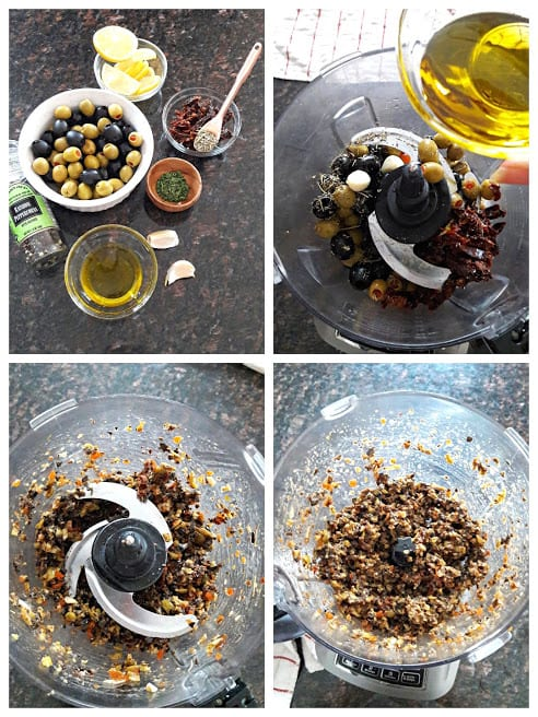 Process shot collage of olive tapenade ingredients and blending process.