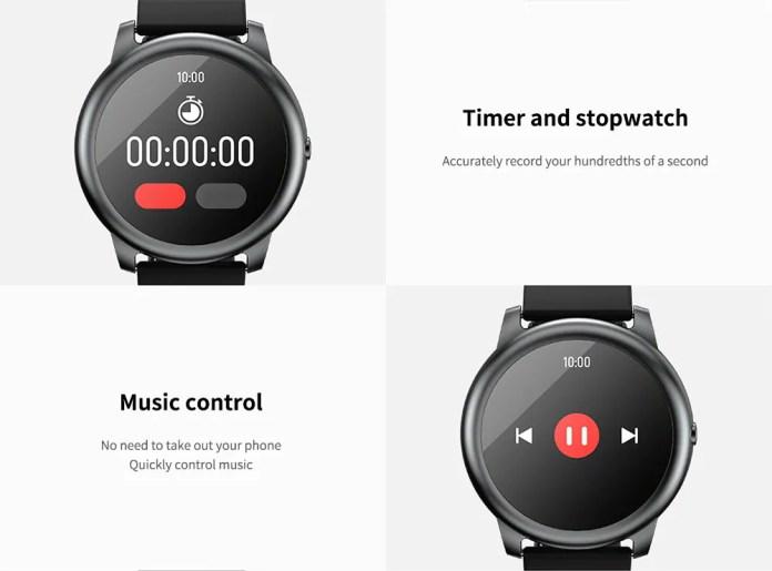 Управління музикою і таймер в Hailou Solar Smart Watch