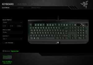 screen capture of Razer Synapse customization software