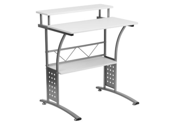 Image of small white computer desk