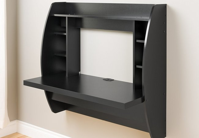Image of black wall mounted desk