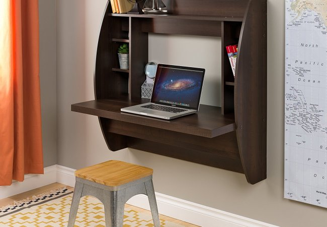 Image of computer table hanging on the wall