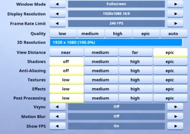Beaks Fortnite Video Settings