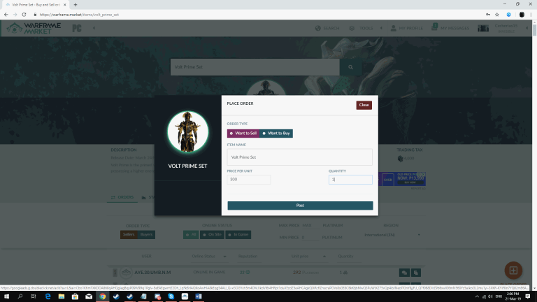 Posting-Placing Order on Warframe Market