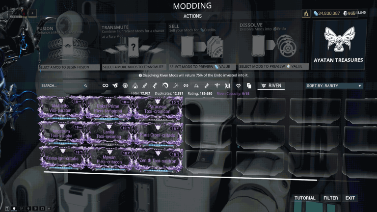 Rivens Modding Actions