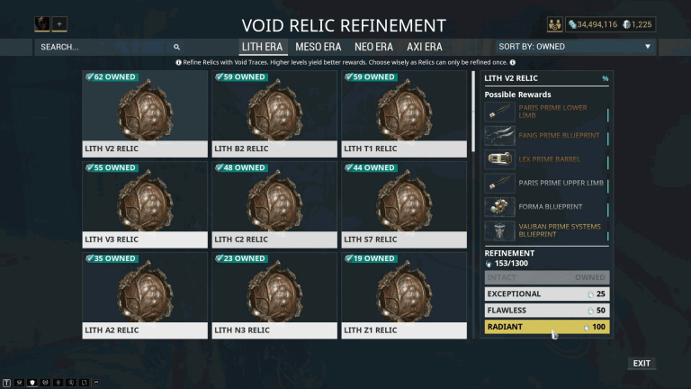 Void Relic Refinement