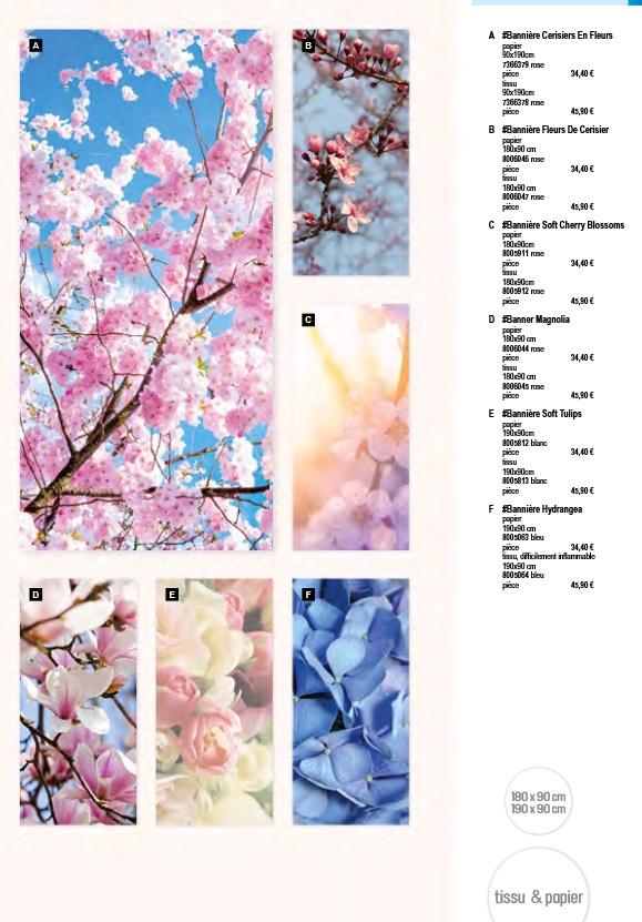 Pro-G Créa - Déco bandeau chocolat ou bannière cerisier - déco bannière ou bandeau magnolia - déco bandeau ou bannière tulipes - déco bandeau ou bannière fleurs - déco bandeau ou bannière champs