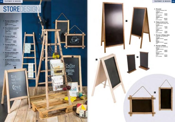 Pro g crea - L'aménagement et équipements de l'espace de vente est essentiel dans le visual merchandising. Découvrez des cadres d'affiches murales, des présentoirs prospectus, des miroirs, des bacs, tous pour les soldes, des portants, des chevalets. Panneau d'affichage, échelle pliante, cadre, table, étagère, caisses en bois, tabouret, banc, escaliers, boxes, lampes, caisses, arrosoirs, pot de fleur, tonneau, bidon, sceau, colonne...  - Déco caisses en bois - Déco foire aux vins - Déco présentoir - Déco tableau noir - déco panneau affichage